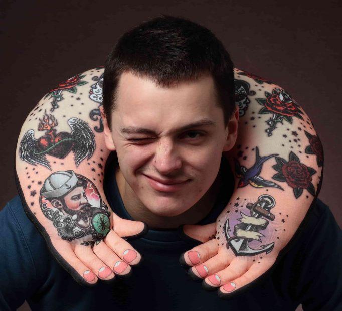 """Подушка-рука под голову """"Tattoo Old School"""""""