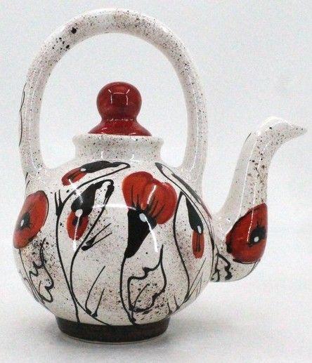 """Оригинальный чайник керамический ручной работы """"Маки на снегу"""""""