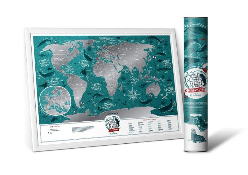 """Скретч карта мира Travel Map """"Marine World"""" (на английском языке)"""