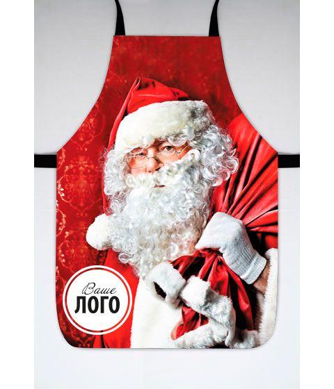 """Фартук с принтом """"Дед Мороз"""" (с Вашим логотипом, любое изображение)"""