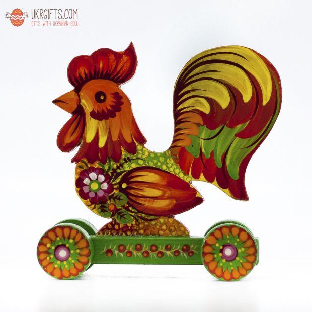 Украинский сувенир Петух на колесиках (01)