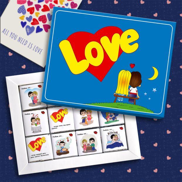 """Набор шоколадок """"Love is""""( 12шт)"""