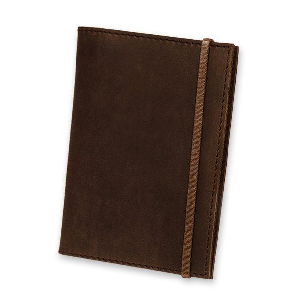 """Обложка для паспорта """"Орех"""" (натур. кожа) + блокнотик"""