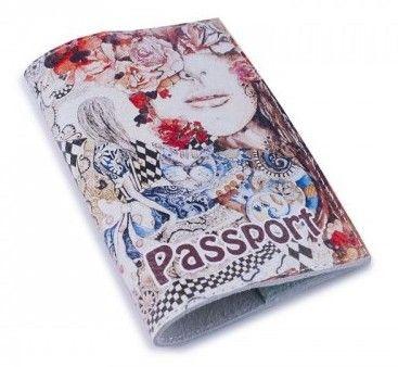 """Обложка для паспорта """"Алиса в стране чудес"""" (натур. кожа)"""
