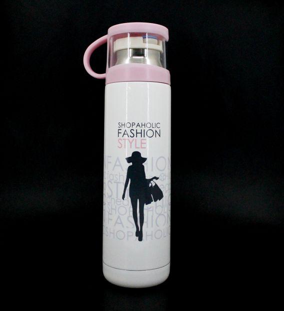"Термос с чашкой ""Fashion style"" (розовый)"