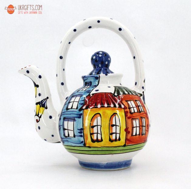 """Чайник керамический """"Домики""""(02) (ручная работа)"""