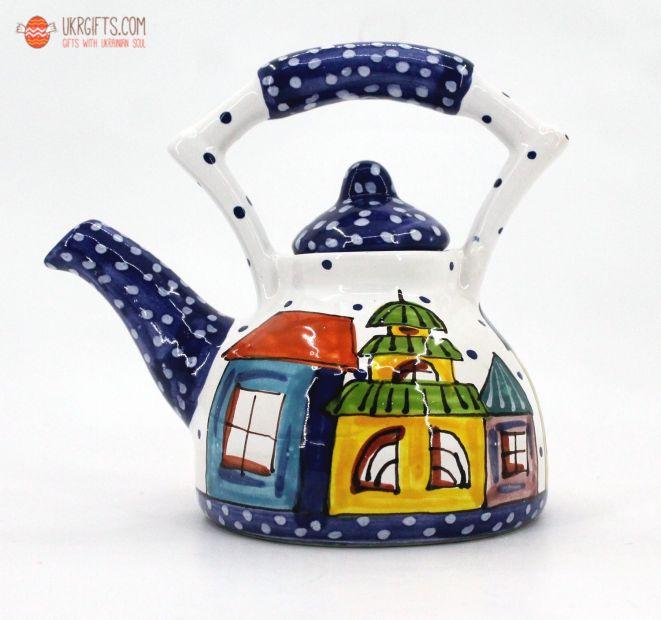 """Чайник керамический """"Домики""""(01) (ручная работа)"""