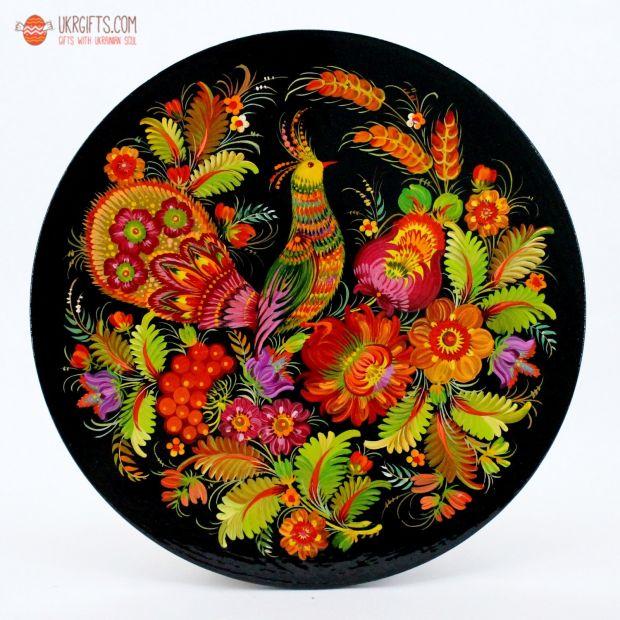 Тарелка с Петриковсксой росписью. диаметр 18 см (06)