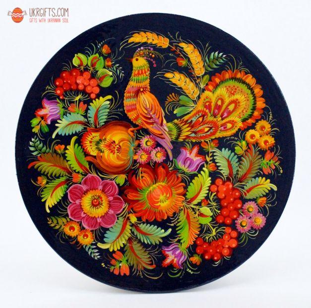 Тарелка с Петриковсксой росписью. диаметр 18 см (02)