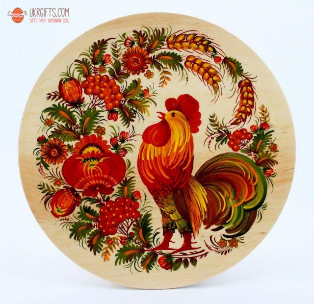 Тарелка с Петриковсксой росписью, диаметр 25 см (03)
