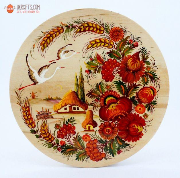Тарелка с Петриковсксой росписью, диаметр 25 см (05)