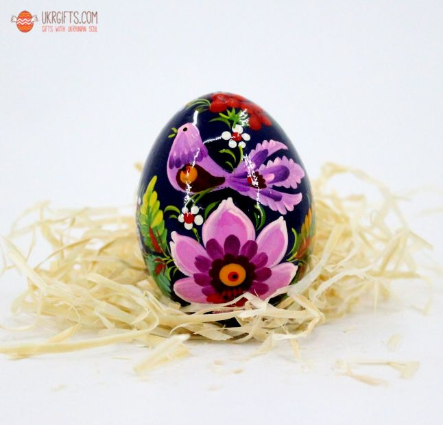 Писанка. Деревянное пасхальное яйцо с Петриковской росписью (06)