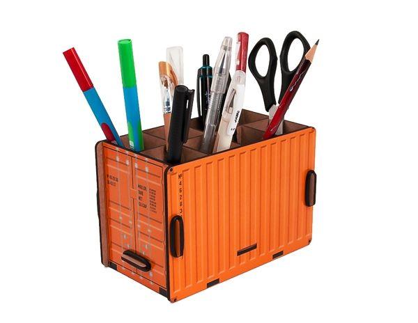 """Органайзер для ручек и карандашей """"Контейнер"""", оранжевый"""