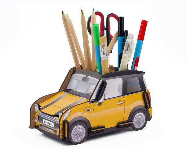 """Органайзер для ручек и карандашей """"Автомобиль  Mini Cooper"""" , желтый"""
