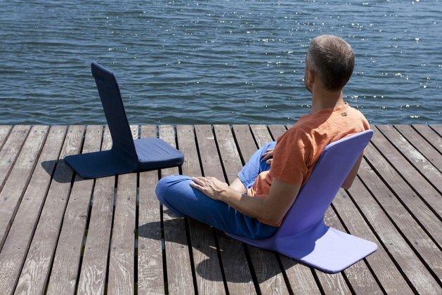 Портативное кресло для комфортной работы (цв.синий), отдыха, медитации, семинаров