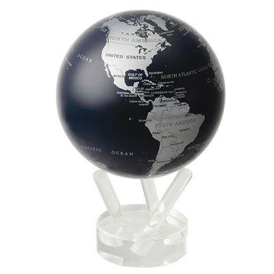 Самовращающийся глобус MOVA GLOBE SBE Silver/Black Metallic (серебристый с политической картой мира) 12 см