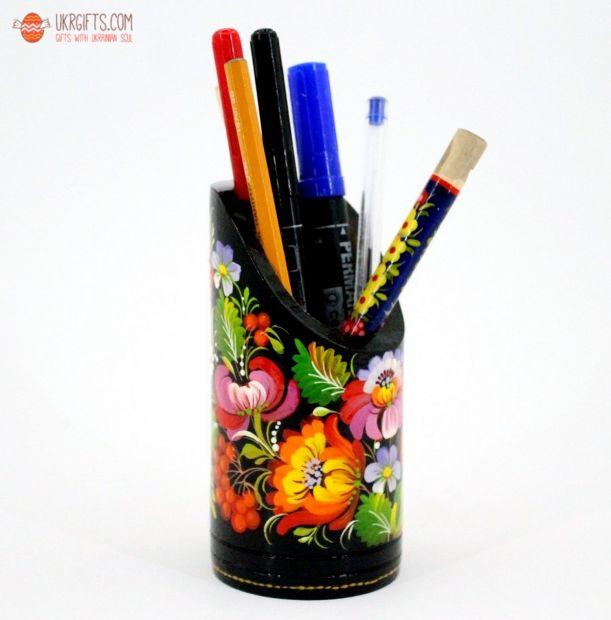 Карандашница, подставка под ручки с Петриковской росписью (03)