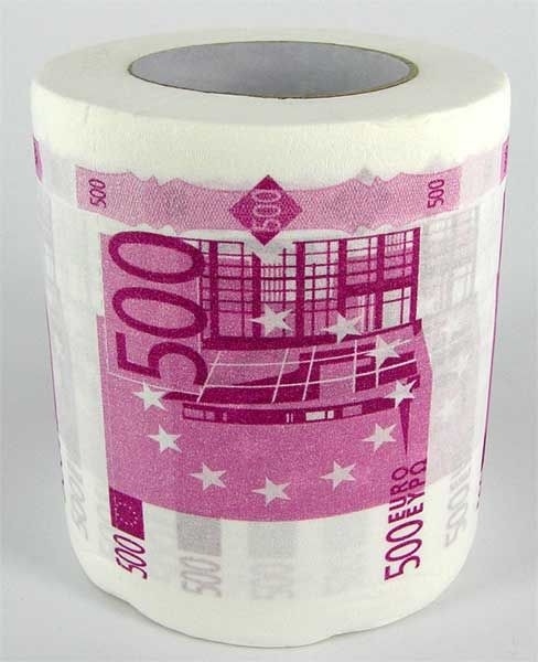 """Рулон туалетной бумаги """"500 евро"""""""