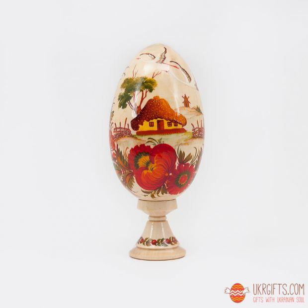 """Пасхальное яйцо большое (писанка) на подставке """"Рідна хата"""""""