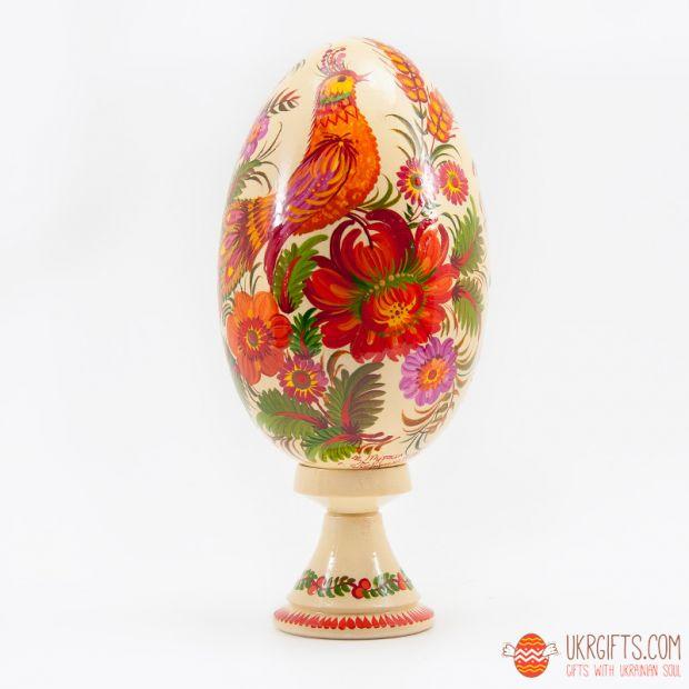 """Пасхальное яйцо большое (писанка) на подставке """"Казковий птах"""""""