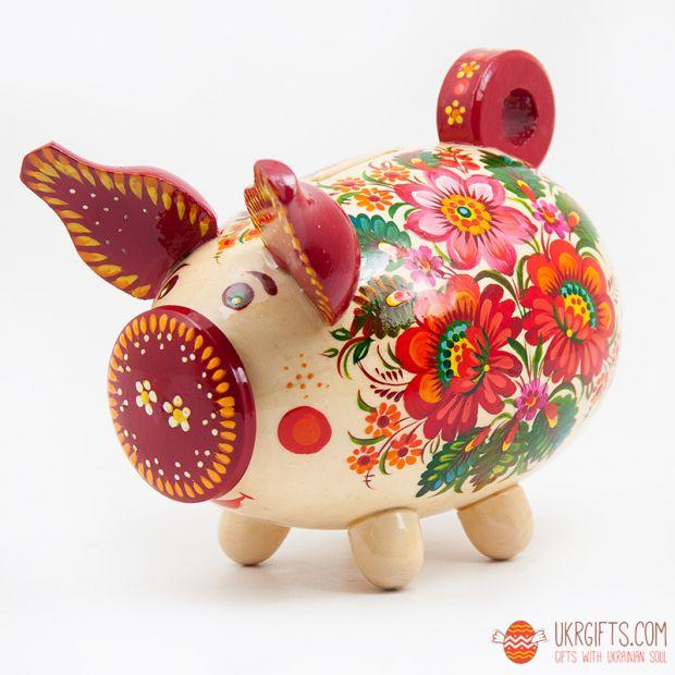 Свинка-копилка с Петриковской росписью средняя (03)