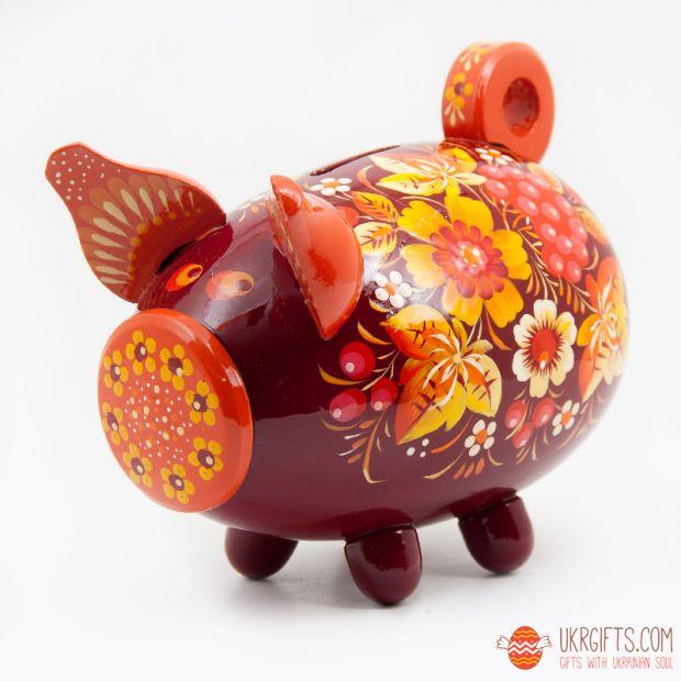 Свинка-копилка с Петриковской росписью средняя (04)
