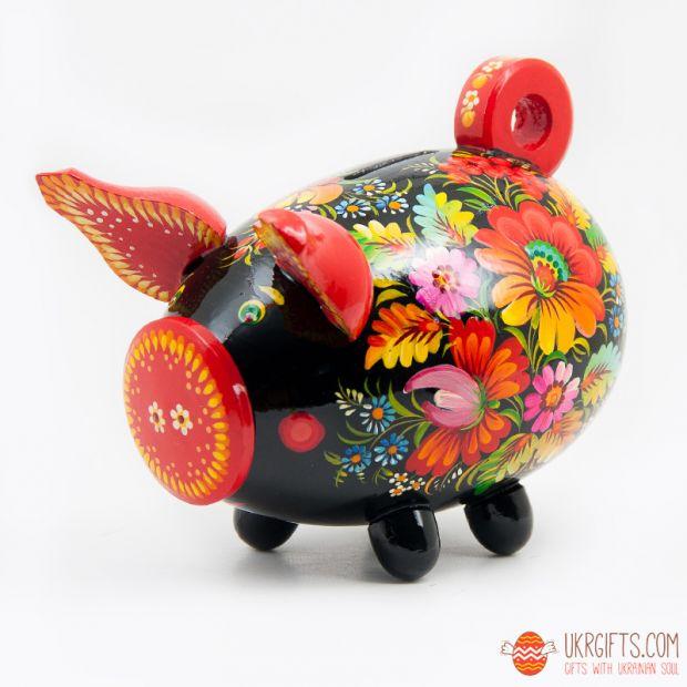 Свинка-копилка с Петриковской росписью средняя (05)