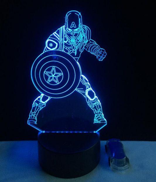 """Светодиодный светильник 3D """"Капитан Америка"""""""
