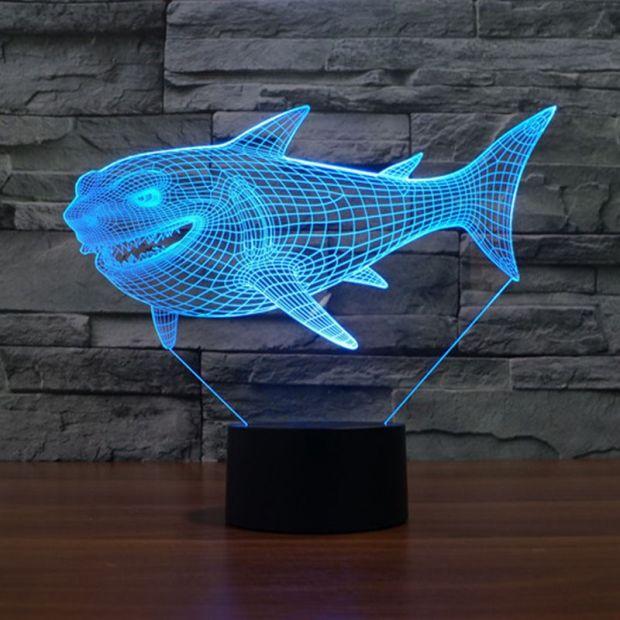 """Сенсорный светильник 3D """"Акула"""""""