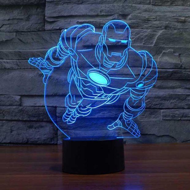 """Светодиодный светильник 3D """"Железный человек"""" (01)"""