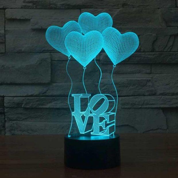 """Светодиодный светильник 3D """"Сердечки"""""""