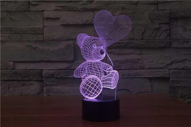 """Сенсорный светильник 3D """"Мишка с шариком"""""""