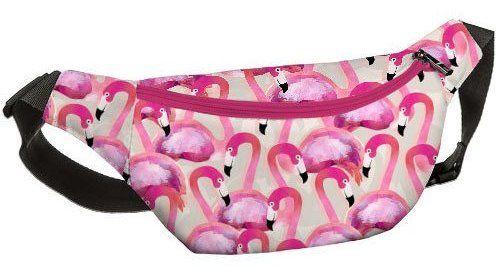 """Напоясная сумка, бананка """"Розовые фламинго"""""""