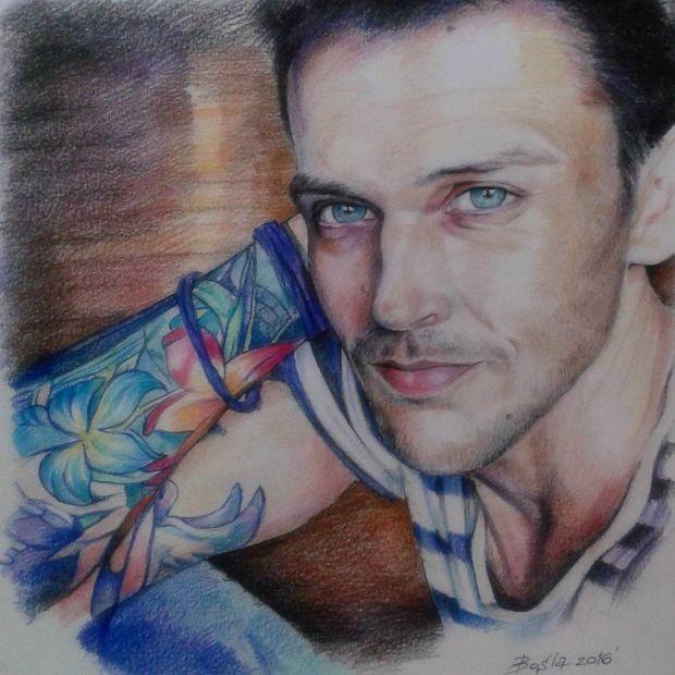 Портрет по фотографии, акварельные карандаши, формат А3 в цвете