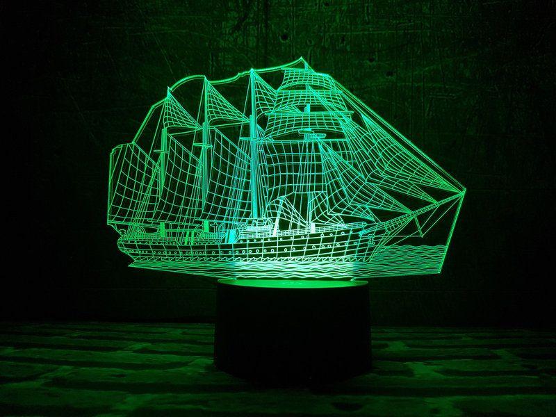 """Сенсорный светильник 3D """"Парусник"""""""