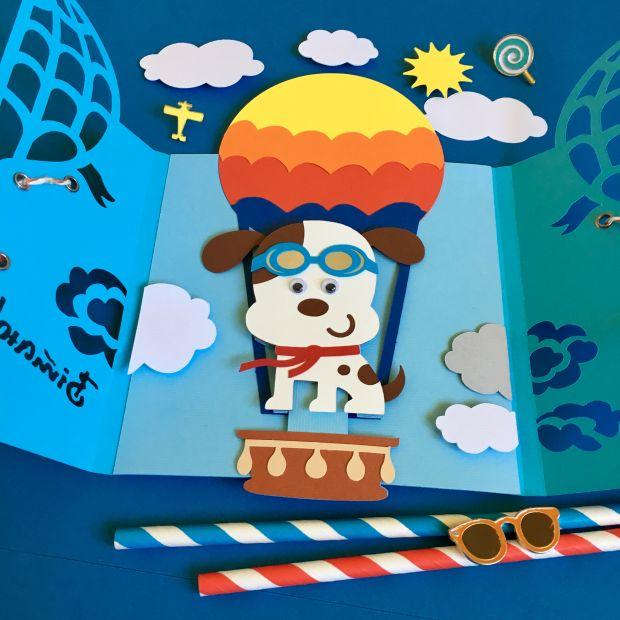 """Механическая открытка - сюрприз """"Песик на воздушном шаре"""""""