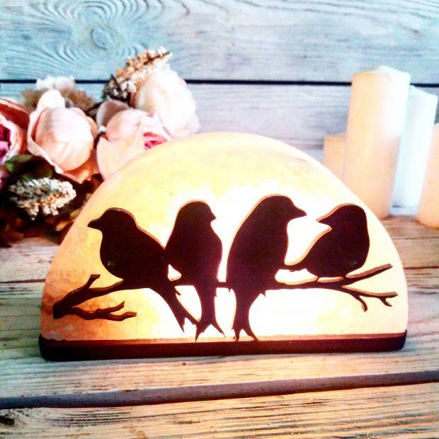"""Cоляной светильник """"Птицы на ветке"""""""