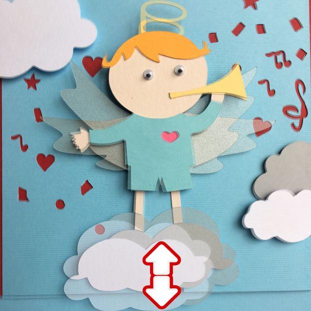 """Механическая открытка - сюрприз """"Ангел - блондин на облачке"""""""