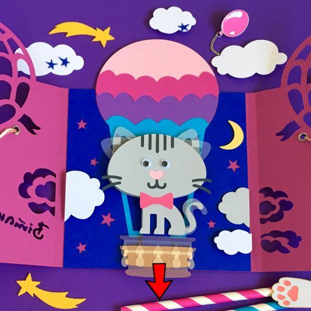 """Механическая открытка - сюрприз """"Кот на воздушном шаре"""""""