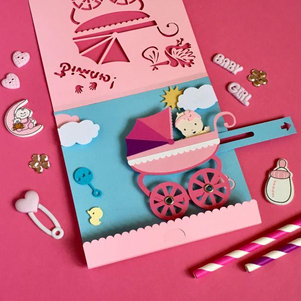 Механическая открытка - сюрприз на рождение ребенка - девочки