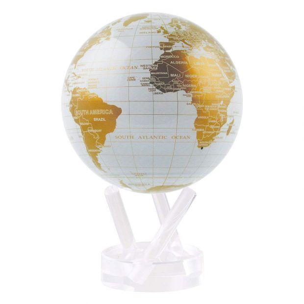 Самовращающийся глобус MOVA GLOBE WGE White and Gold 12 см