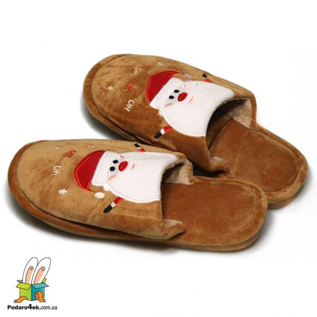 "Тапочки домашние ""Дед Мороз"", коричневый"