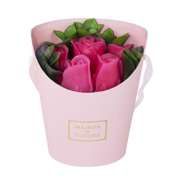 Малый букет красных роз (мыло ручной работы), 5шт