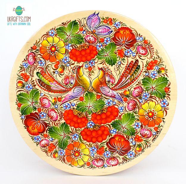 Тарелка с Петриковсксой росписью. диаметр 25 см (09)