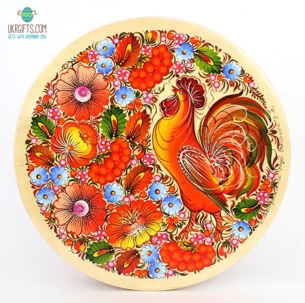 Тарелка с Петриковсксой росписью. диаметр 25 см (10)