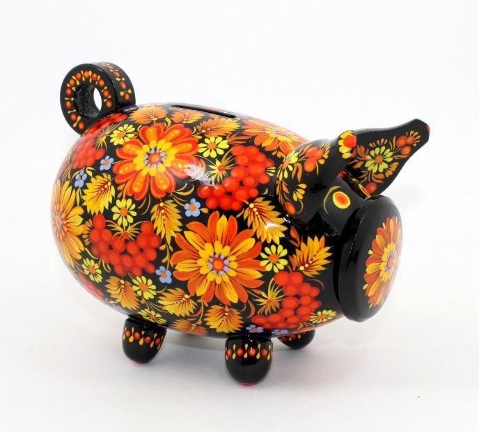 Свинка-копилка с Петриковской росписью средняя (02)