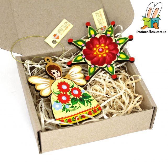 """Подарок на Новый год - набор елочных игрушек ручной работы """"Рождество"""""""