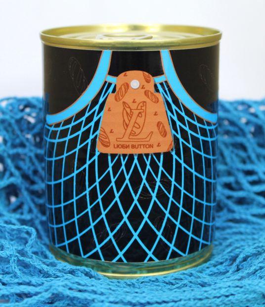 Эко-сумка, авоська LЮБИ BUTTON в банке консервированная (синий)