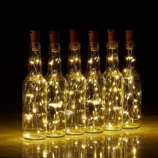 Пробка для бутылки с LED гирляндой 1,5 м на солнечной батарейке