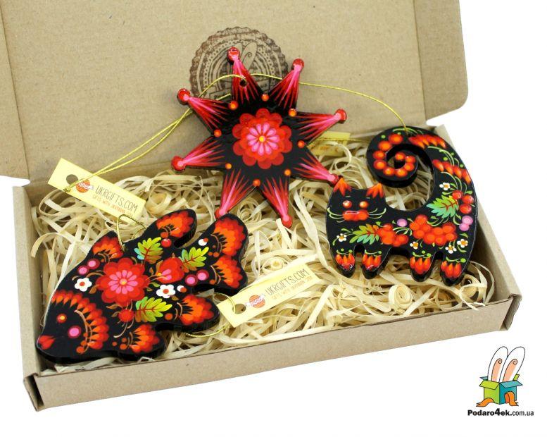 Набор елочных игрушек с Петриковской росписью с Вашим лого